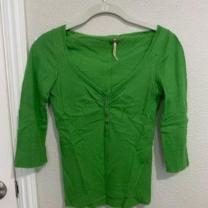 Free People Apple Green Angora Sweater